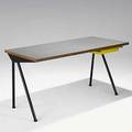 Jean prouve enameled metal laminated pine and yellow plastic compass desk for the cite universitaire antony france early 1950s unmarked 28 12 x 55 x 26