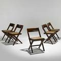 Pierre jeanneret five teak and cane side chairs with cushions not shown provenance chandigarh india unmarked 30 x 18 12 x 18 12