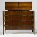 Edmund spence curved form and figured walnut chest on chest stamped made in sweden 24 47 x 45 x 24