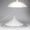 Modern lighting two hanging fixtures one of enameled metal one lucite