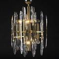 Lightolier ceiling fixture with brass frame complete with rod and cap and ovoid glass prisms one prism missing 39 x 19 dia