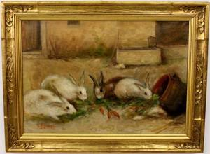 L 19thE 20th C French Oil Painting of Rabbits