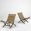 Style of hans wegner two folding chairs with woven jute seats on beech frames 30 x 23 12 x 31