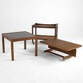 Hans wegner two teak carts together with teak side table with inset ceramic tiles larger cart branded larger 25 x 29 12 x 19