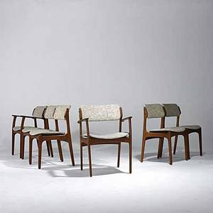 Danish modern six teak dining chairs four side two arm paper label made in denmark oddense maskinsnedkeri as armchair 31 12 x 24 x 21