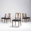Danish modern uldum attr set of five sculpted teak and wool dining chairs unmarked 36 x 20 x 20