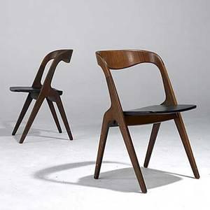 Danish modern pair of teak side chairs with vinyl seats stamped vamo vp sonderborg made in denmark 30 x 19 x 17