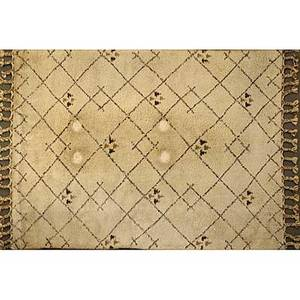 Moroccan handknotted wool rug in lattice pattern on an oatmeal ground 72 x 108