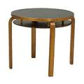Alvar aalto twotiered side table with black laminate top on laminated birch frame ca 1940 unmarked 22 12 x 27 dia