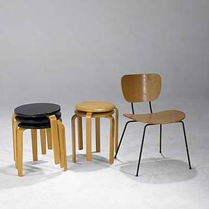 Style of alvar aalto set of five nesting table and a side chair chair 29 x 19 12 x 20