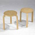 Alvar aalto artek two birch stacking tables late 1950s one stamped artek made in finland 17 14 x 13 34 dia