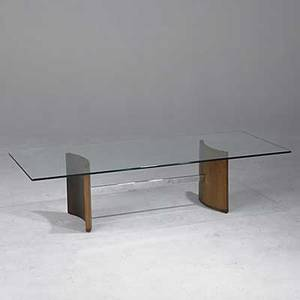 Vladimir kagan selig compass table in walnut and chrome steel with plate glass top 15 x 25 x 60