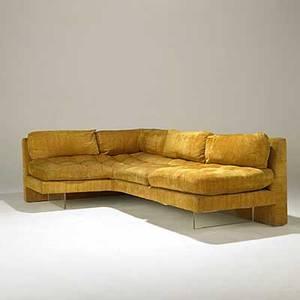 Vladimir kagan kagan designs inc omnibus velvet and lucite sofa kagan designs label 31 x 90 x 60 seat 33 deep