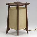 Studio table lamp with teak frame and parchment shade 14 12 x 8 sq