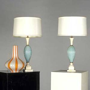 Murano pair of ribbed glass table lamps and a pendant fixture with striped glass tallest base 18 14 x 4 12 sq