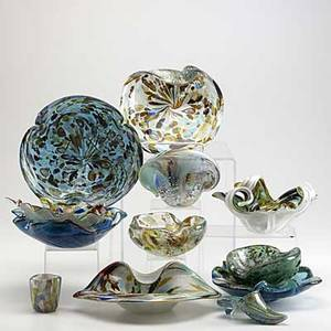 Murano glass twelve pieces of carnival glass some with original labels tallest 4 12