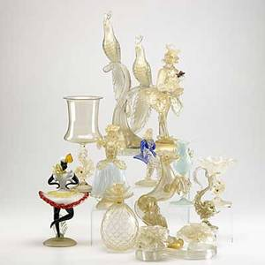 Murano glass twelve piece figural group in the style of venini tallest 16 34