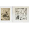 Eight new york theme works on paper wilfred stedman american 18921950 ink drawing on board of new york harbor 1923 signed and dated george kimmel american 20th c handcolor lithograph of