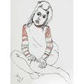 Alice neel american 19001984 lithograph in colors of a girl in a red striped shirt framed 1973 signed and dated 29 34 x 22 14 sheet