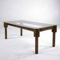 Post modern patinated copper dining table with inset neon lighting 29 x 72 12 x 36 12