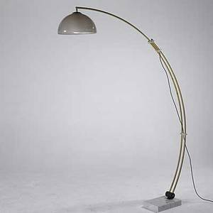 Italian arc lamp in brass and marble with plastic shade as pictured 82 x 60 x 9