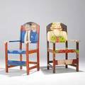 Fernando bottero style pair of occasional chairs painted in the style of bottero stamped disenos caaesa and foil label 42 12 x 25 12 x 22