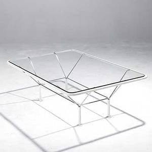 Italian painted and chromed steel cocktail table with plate glass top unmarked 16 x 47 12 x 32