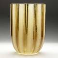 Barbini massive vase of clear and etched amber glass barbini murano and oggetti labels etched barbini murano 13 x 9