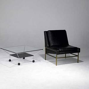 Modern lounge chair on brass base together with chrome steel coffee table with plate glass top 32 x 28 x 28