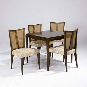 Baker etc fivepiece furniture suite consisting of a baker game table and four side chairs with caned backs and embroidered seat pads game table marked with baker metal tag 29 x 32 sq and 35