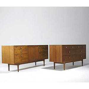 Edward wormley attr drexel pair of walnut cabinets with bronze and mother of pearl pulls stenciled verso declaration larger 31 x 72 x 21 smaller 31 x 60 x 21
