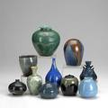 Artisanal porcelain and stoneware several with crystalline glazes some marked tallest 6