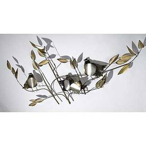 Curtis jere wall sculpture birds on foliage signed c jere 28 x 54 x 6 12