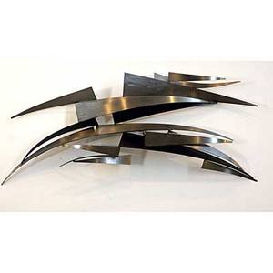 Curtis jere abstract wall sculpture in brushed steel signed c jere 1978 20 x 56