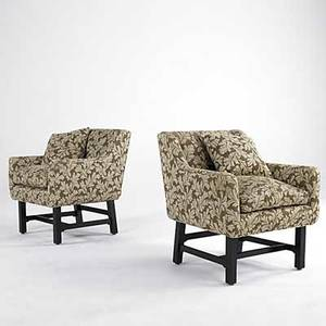 Style of harvey probber pair of upholstered lounge chairs on ebonized mahogany bases 32 x 29 x 29