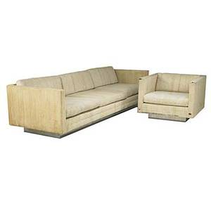 Harvey probber sofa and matching club chair in boucle fabric on chromed steel base fabric label sofa 24 x 102 x 34