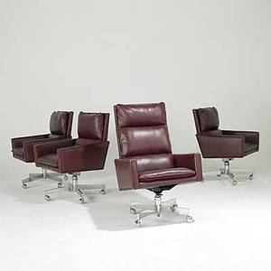 Harvey probber leather executive chairs on chromed steel bases with casters unmarked tallest 41 x 26 x 33