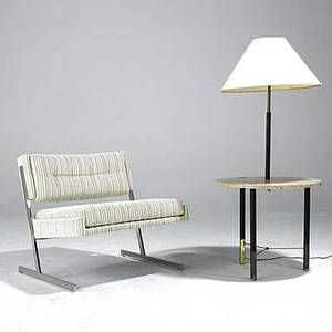 Harvey probber lounge chair on chromed steel base together with marble and brass lamp table unmarked chair 28 x 29 x 28 lamp table 51 x 23 12 dia