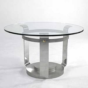 Style of karl springer brushed and chromed steel dining table with plate glass top and brass decoration 29 x 48 dia