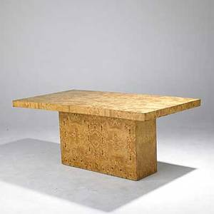 Milo baughman attr baker brothers olive burl bookmatched dining table pedestal conceals two inserts unmarked baker brothers paper label 30 x 38 x 72 insert 18