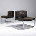 Robert haussmann stendig pair of leather lounge chairs on heavy chromed steel bases stendig labels 30 12 x 28 x 24