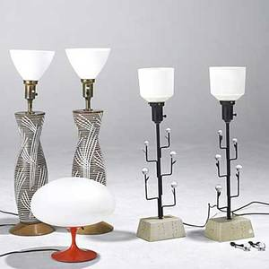 Laurel lamp co enameled table lamp and cased glass shade together with two pairs of decorative table lamps unmarked laurel lamp 12 x 12 dia