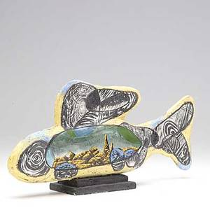 Michael lucero stoneware fish sculpture with glazed panel of rocky landscape on the face and wind blown tree on reverse chip to base 8 x 17  x 3