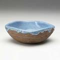 Style of glen lukens earthenware bowl thick blue drip glaze with heavy craquelure spurious mark 2 14 x 6