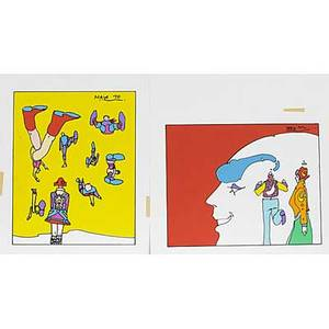 Peter max american b 1937 two screenprints both signed in the plates each 13 x 16 sheet