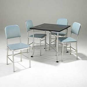 Warren mcarthur brushed aluminum and laminated bakelite dining table and four chairs with blue vinyl pads unmarked table 29 x 30 sq chairs 34 x 16 12 x 16