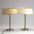 Walter von nessen pair of table lamps with linen shades 19 x 13 dia