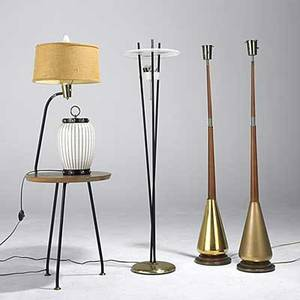 Modern lighting pair of floor lamps on gold bases enameled steel three rod floor lamp walnut lamp table and decorated glass table lamp ca 1950 unmarked
