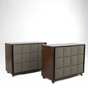 Gilbert rohde herman miller pair of mahogany and leather dressers stenciled numbers to backside 35 x 44 12 x 19