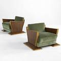 French art deco pair of low and wide armchairs in walnut and oak with upholstered seats 19 12 x 30 x 25